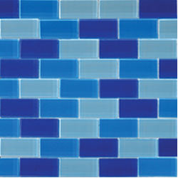 "1""x2"" Glass Brick Blue Blend"