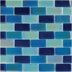 "1""x2"" Glass Brick Irridescent Blue Blend"