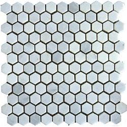 """1"""" Marble New China Carrara Hexagon"""